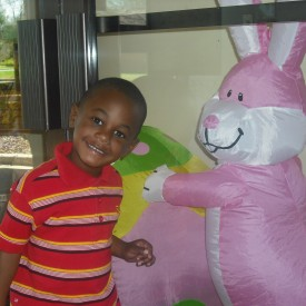 Jarod greeted by the Easter Bunny